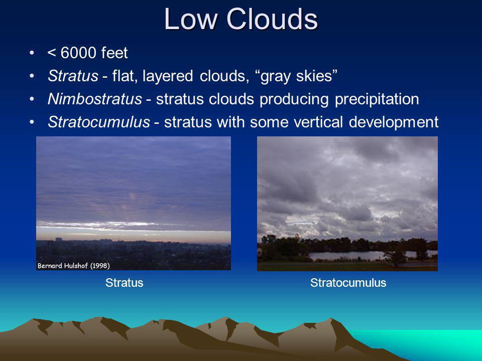 Low Clouds < 6000 feet Stratus - flat, layered clouds, gray skies Nimbostratus - stratus clouds producing precipitation Stratocumulus - stratus with some vertical development StratusStratocumulus