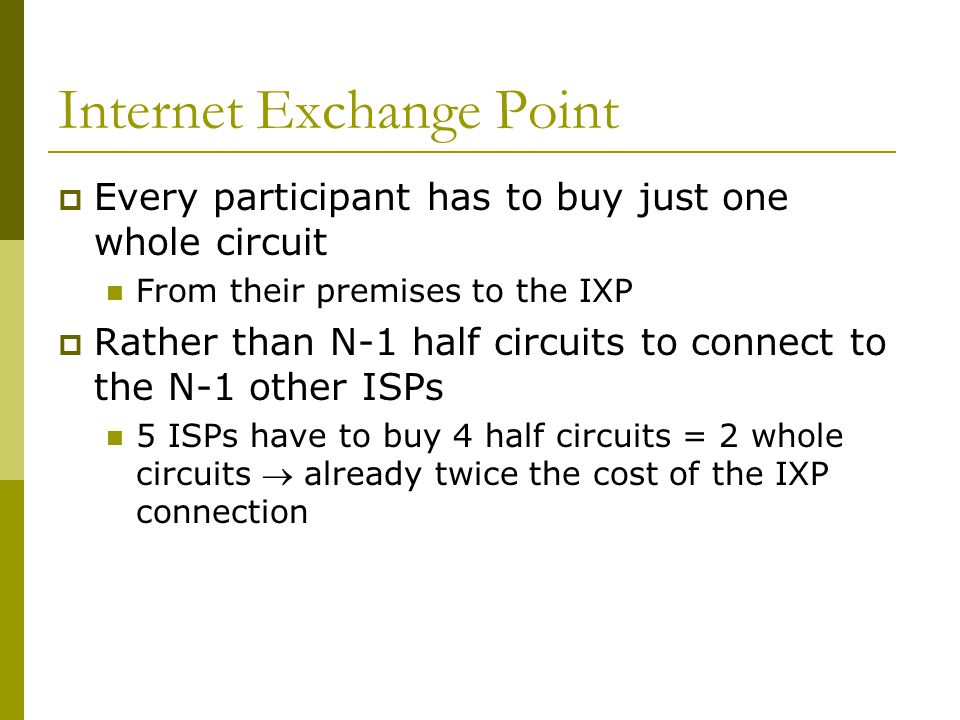  Every participant has to buy just one whole circuit From their premises to the IXP  Rather than N-1 half circuits to connect to the N-1 other ISPs