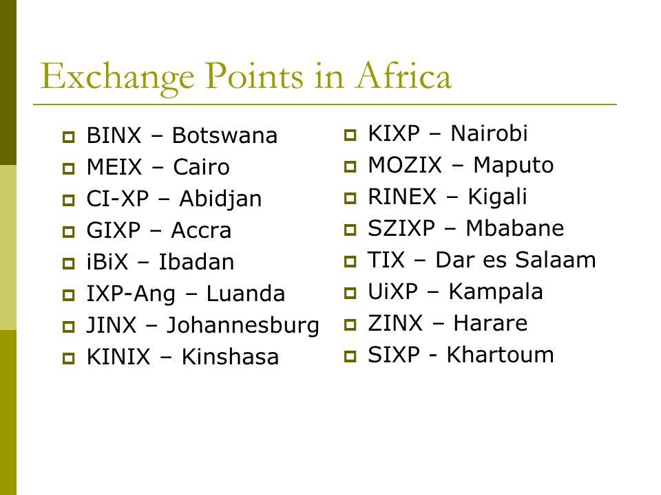 Exchange Points in Africa  BINX – Botswana  MEIX – Cairo  CI-XP – Abidjan  GIXP – Accra  iBiX – Ibadan  IXP-Ang – Luanda  JINX – Johannesburg 