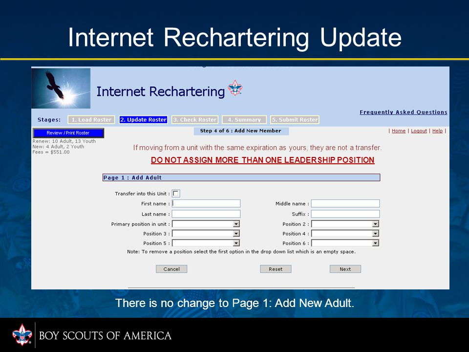 Internet Rechartering Update There is no change to Page 1: Add New Adult. If moving from a unit with the same expiration as yours, they are not a tran
