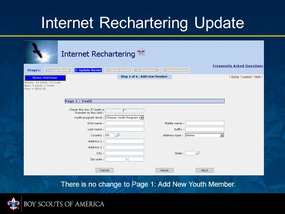 Internet Rechartering Update There is no change to Page 1: Add New Youth Member.