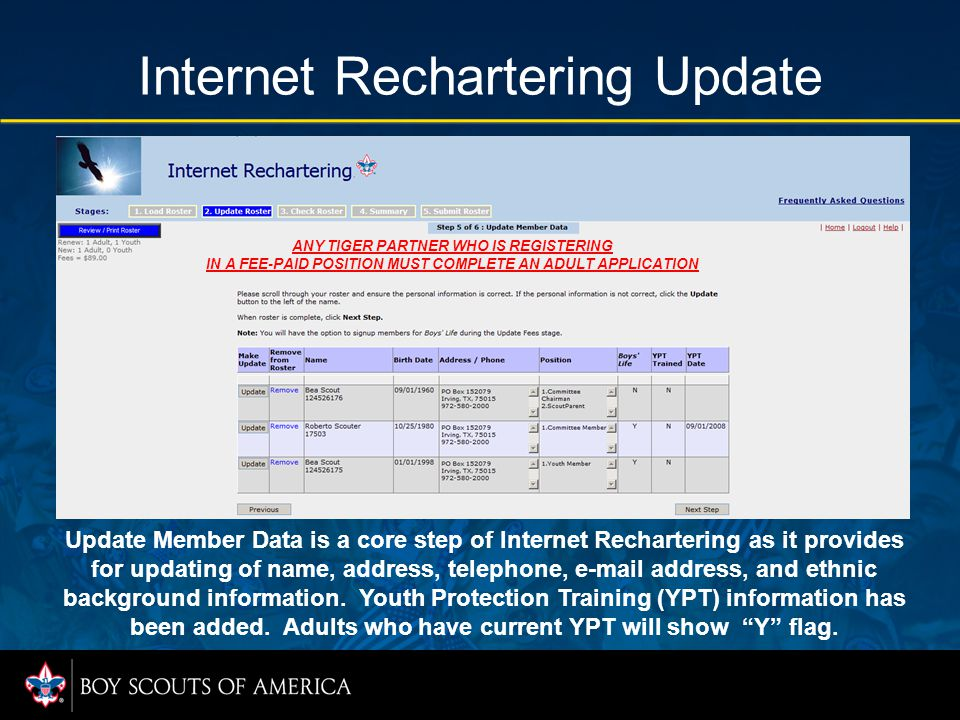 Internet Rechartering Update Update Member Data is a core step of Internet Rechartering as it provides for updating of name, address, telephone, e-mai