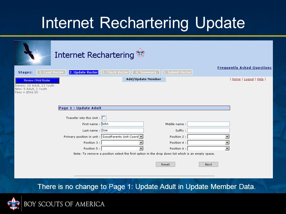 Internet Rechartering Update There is no change to Page 1: Update Adult in Update Member Data.