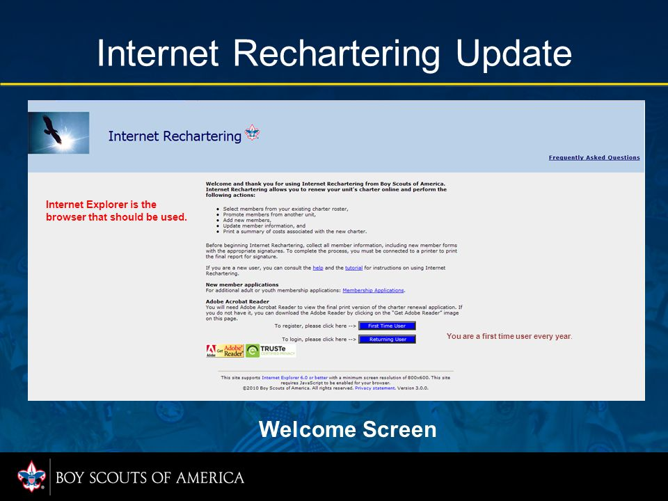 Internet Rechartering Update There is no change to Page 1: Add New Adult.