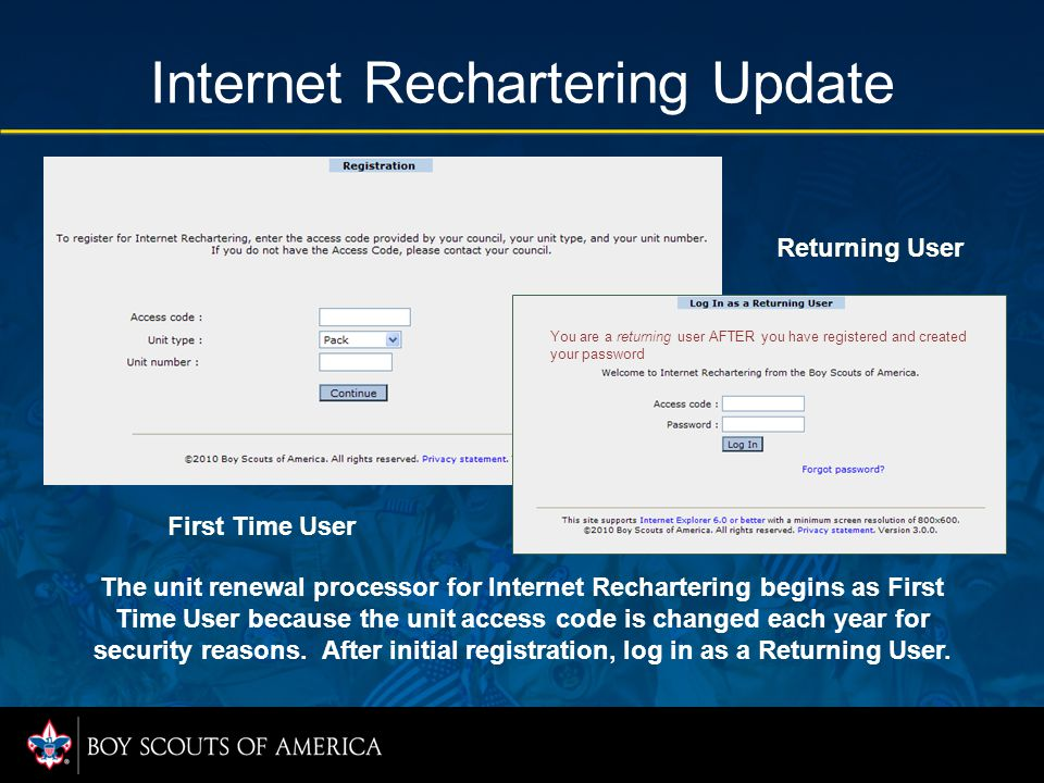 Internet Rechartering Update The unit renewal processor for Internet Rechartering begins as First Time User because the unit access code is changed ea