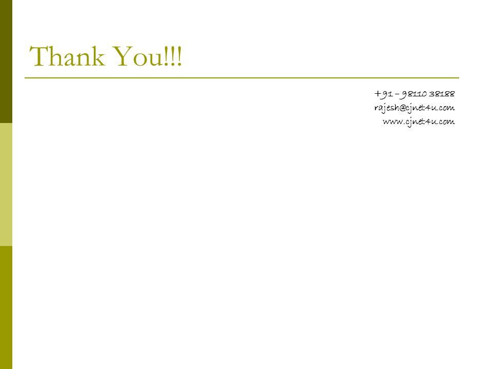Thank You!!! +91 – 98110 38188 rajesh@cjnet4u.com www.cjnet4u.com