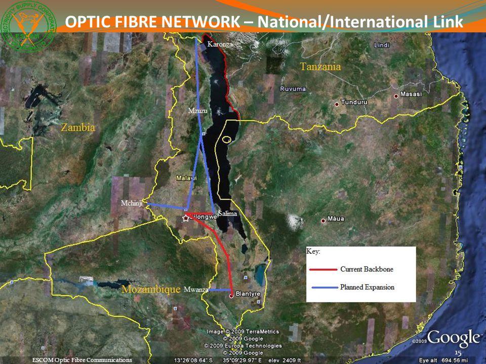 15 ESCOM Optic Fibre Communications OPTIC FIBRE NETWORK – National/International Link