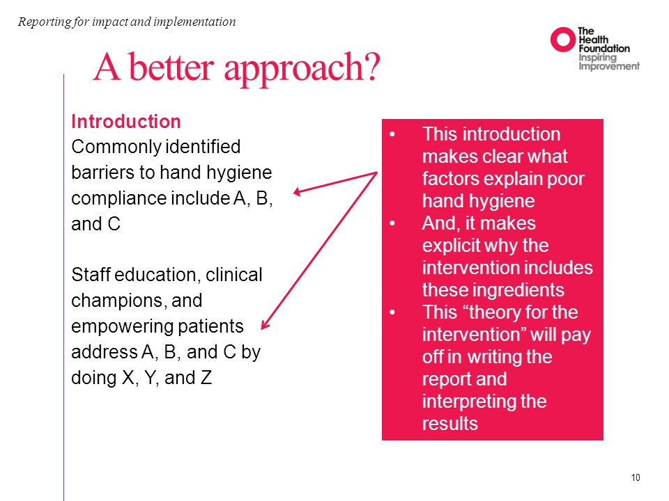 A better approach? Reporting for impact and implementation 10 Introduction Commonly identified barriers to hand hygiene compliance include A, B, and C