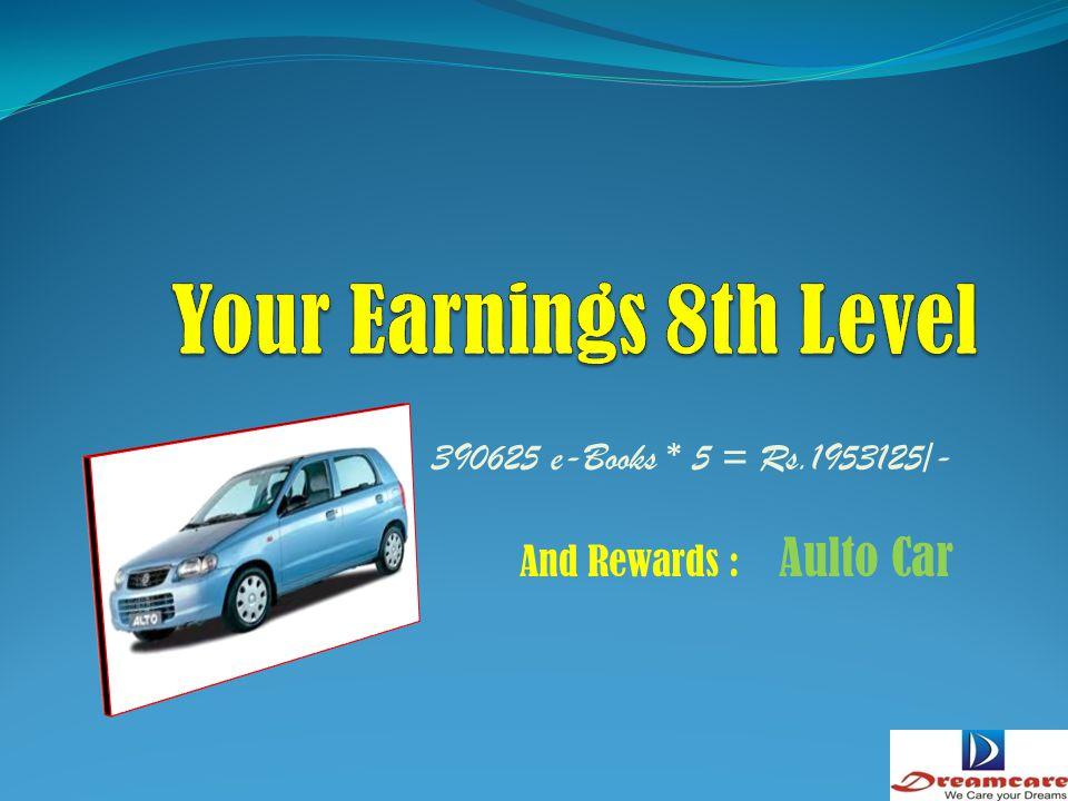 . 78125 e-Books * 5 = Rs.390625/- And Rewards : Nano Car