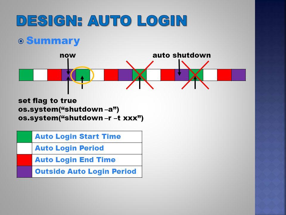  Summary Auto Login Start Time Auto Login Period Auto Login End Time Outside Auto Login Period nowauto shutdown set flag to true os.system( shutdown –a ) os.system( shutdown –r –t xxx )