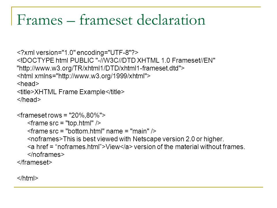 Frames – frameset declaration <!DOCTYPE html PUBLIC