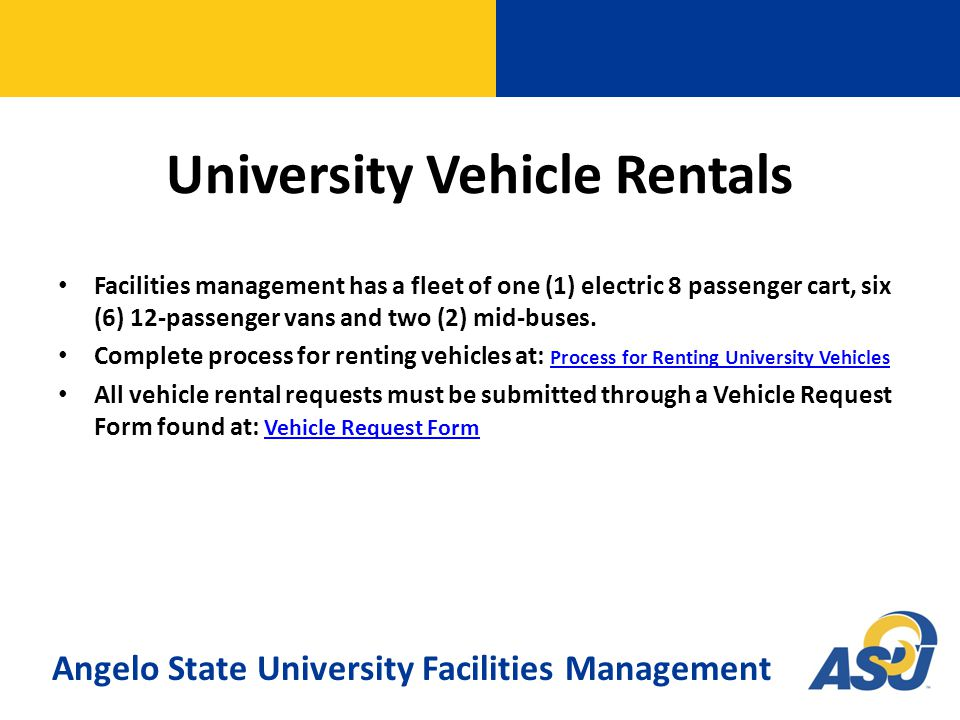 To submit a service request online visit: FAMIS Self Service To submit a service request by phone please call: 325-942-2355 To submit a service request by email: Facilities.Management@angelo.edu For After Hours/Weekends/Holiday Emergencies contact: University Police Department at 325-942-2071 FAMIS provides a comprehensive and powerful system for managing corrective maintenance, preventive maintenance, alterations, renovations, and other service related work.
