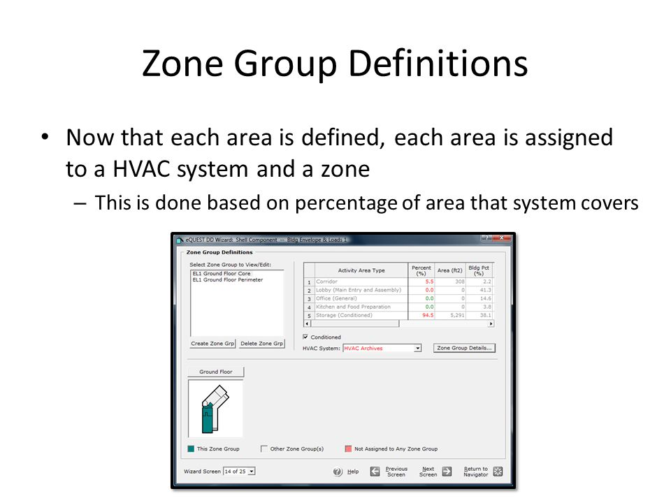 Zone Group Definitions Now that each area is defined, each area is assigned to a HVAC system and a zone – This is done based on percentage of area tha