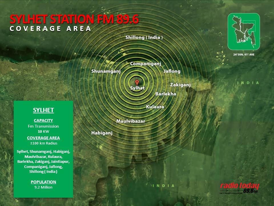 SYLHET CAPACITY Fm Transmission 10 KW COVERAGE AREA ±100 km Radius Sylhet, Shunamganj, Habiganj, Maulvibazar, Kulaura, Barlekha, Zakiganj, Jaintiapur,