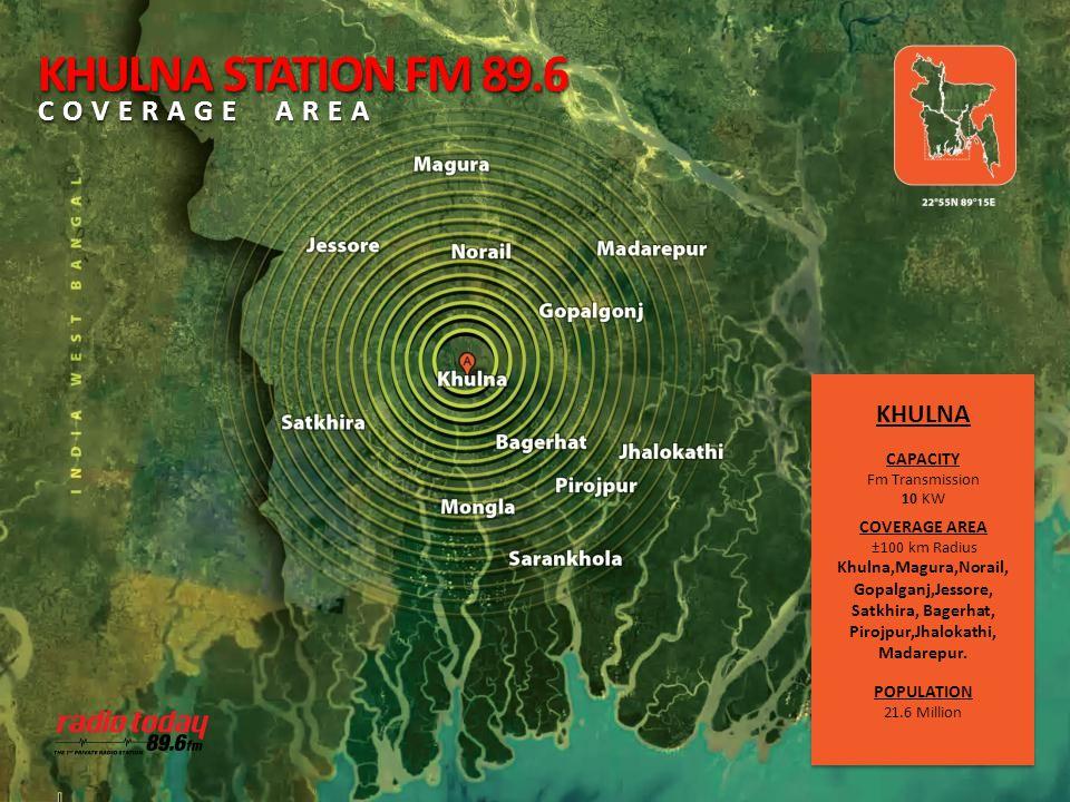 KHULNA CAPACITY Fm Transmission 10 KW COVERAGE AREA ±100 km Radius Khulna,Magura,Norail, Gopalganj,Jessore, Satkhira, Bagerhat, Pirojpur,Jhalokathi, M