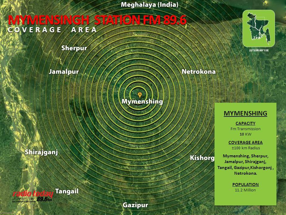 MYMENSHING CAPACITY Fm Transmission 10 KW COVERAGE AREA ±100 km Radius Mymenshing, Sherpur, Jamalpur, Shirajganj, Tangail, Gazipur,Kishorgonj, Netroko