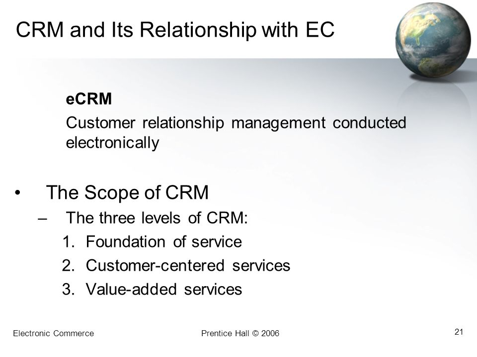 Electronic CommercePrentice Hall © 2006 21 CRM and Its Relationship with EC eCRM Customer relationship management conducted electronically The Scope o