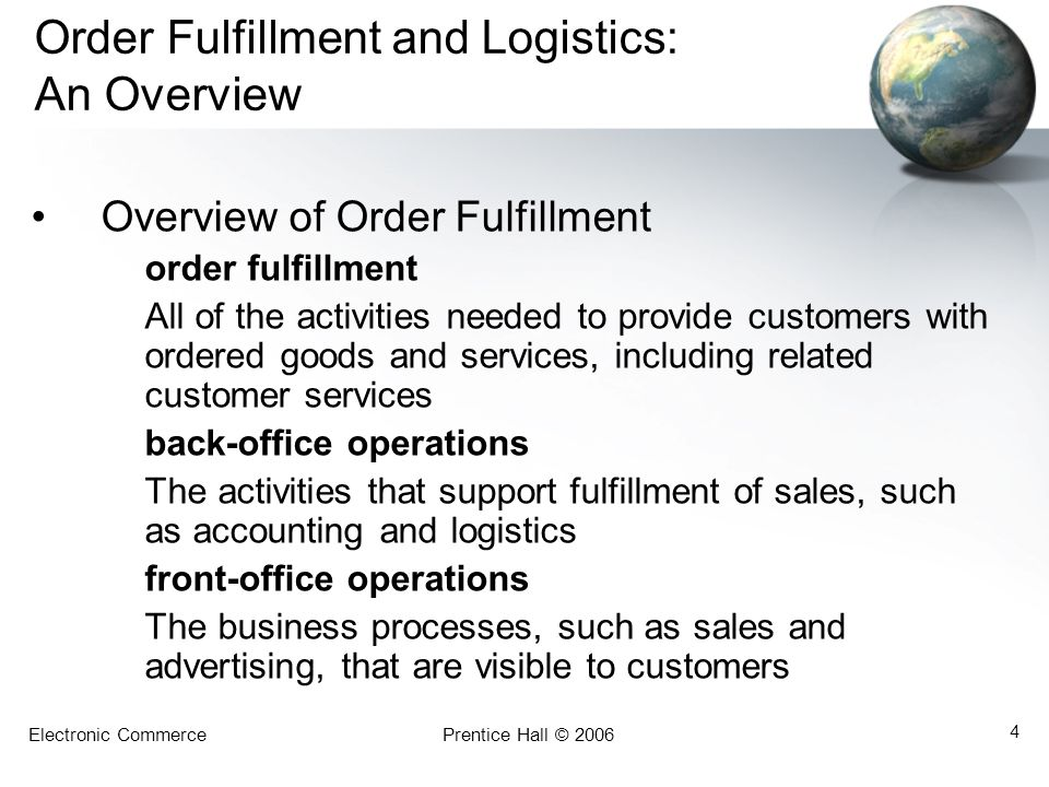 Electronic CommercePrentice Hall © 2006 45 Outsourcing EC Support Services IT Outsourcing and Application Service Providers –Internet malls –ISPs –Telecommunication companies –Software houses –Outsourcers and others