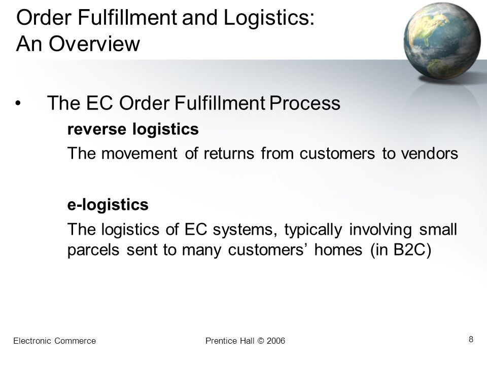 Electronic CommercePrentice Hall © 2006 49 Summary 1.The role of support services in EC.