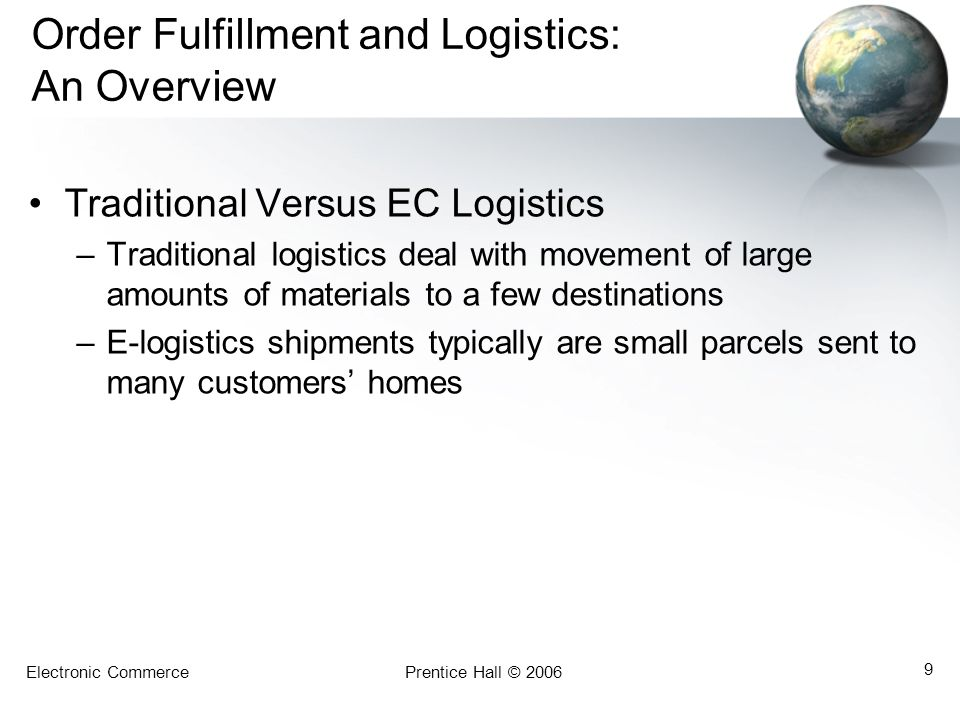 Electronic CommercePrentice Hall © 2006 10 Problems in Order Fulfillment Typical Supply Chain Problems –The inability to deliver products on time –High inventory costs –Quality problems due to misunderstandings –Shipments of wrong products, materials, and parts –Cost to expedite operations or shipments is high