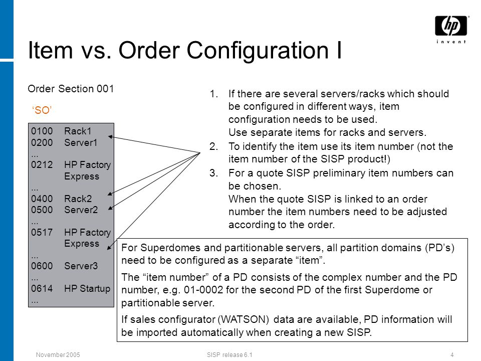 November 2005SISP release 6.14 Item vs. Order Configuration I 1.If there are several servers/racks which should be configured in different ways, item