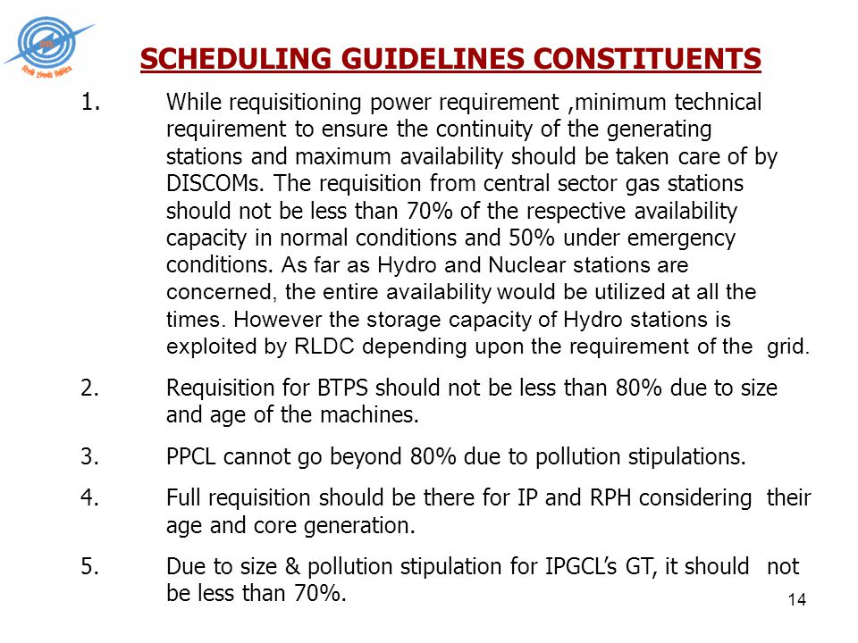 14 SCHEDULING GUIDELINES CONSTITUENTS 1.