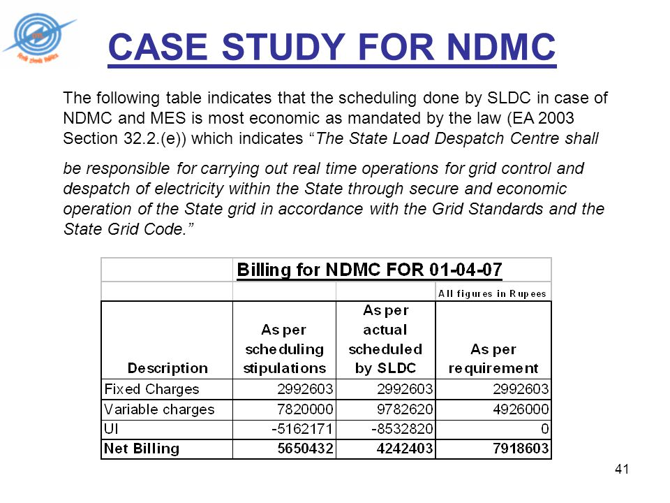 41 CASE STUDY FOR NDMC The following table indicates that the scheduling done by SLDC in case of NDMC and MES is most economic as mandated by the law (EA 2003 Section 32.2.(e)) which indicates The State Load Despatch Centre shall be responsible for carrying out real time operations for grid control and despatch of electricity within the State through secure and economic operation of the State grid in accordance with the Grid Standards and the State Grid Code.