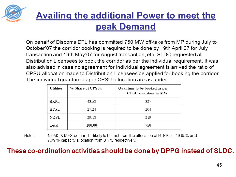 45 Availing the additional Power to meet the peak Demand On behalf of Discoms DTL has committed 750 MW off-take from MP during July to October'07 the corridor booking is required to be done by 19th April'07 for July transaction and 19th May'07 for August transaction, etc.