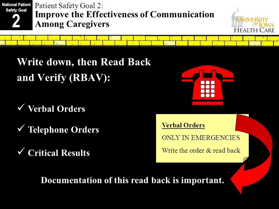 Patient Safety Goal 2: Improve the Effectiveness of Communication Among Caregivers Write down, then Read Back and Verify (RBAV): Verbal Orders Telephone Orders Critical Results I I I I Documentation of this read back is important.