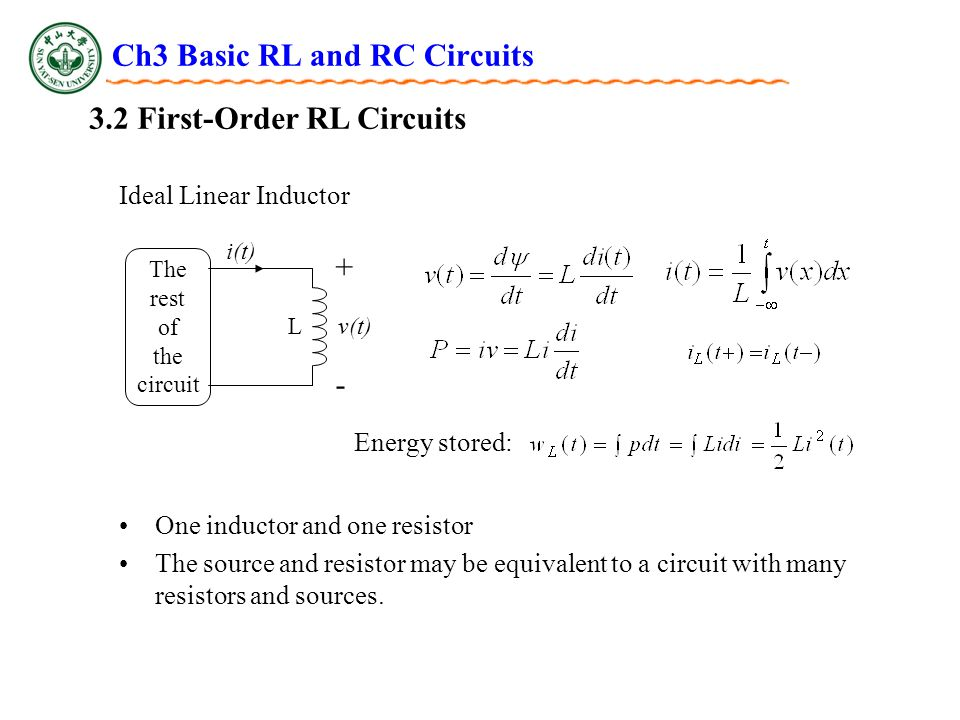 Ch3 Basic RL and RC Circuits 3.2 First-Order RL Circuits Ideal Linear Inductor i(t) + - v(t) The rest of the circuit L Energy stored: One inductor and one resistor The source and resistor may be equivalent to a circuit with many resistors and sources.