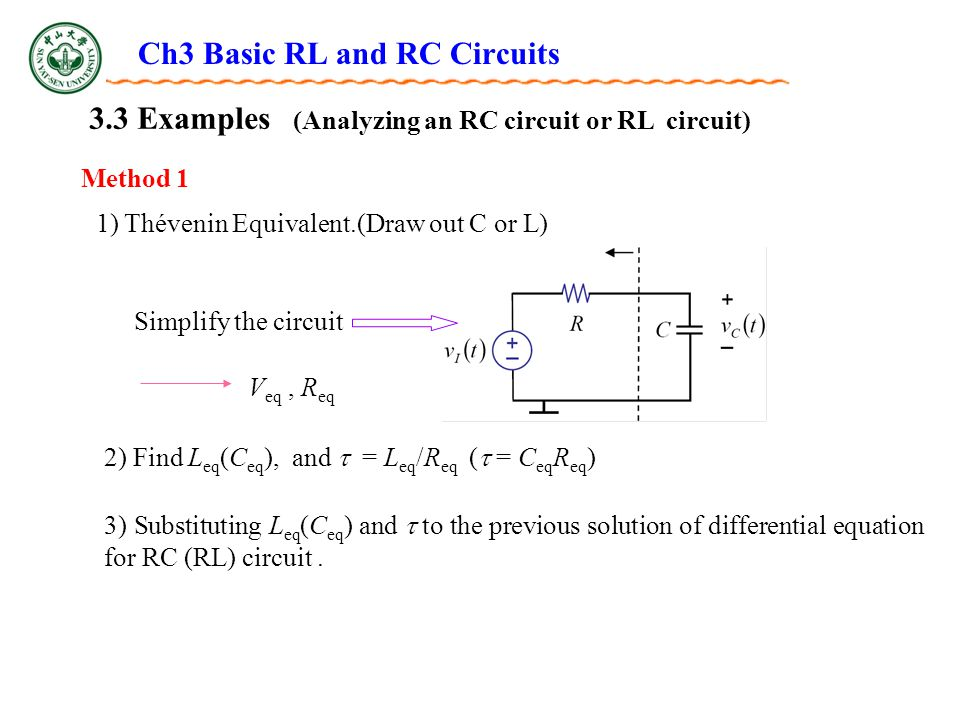 Ch3 Basic RL and RC Circuits 3.3 Examples Method 1 (Analyzing an RC circuit or RL circuit) Simplify the circuit 2) Find L eq (C eq ), and  = L eq /R eq (  = C eq R eq ) 1) Thévenin Equivalent.(Draw out C or L) V eq, R eq 3) Substituting L eq (C eq ) and  to the previous solution of differential equation for RC (RL) circuit.