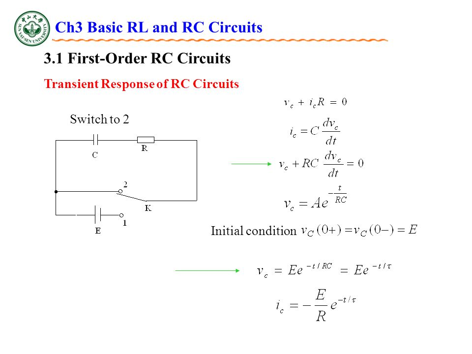 Ch3 Basic RL and RC Circuits 3.1 First-Order RC Circuits Switch to 2 Initial condition Transient Response of RC Circuits