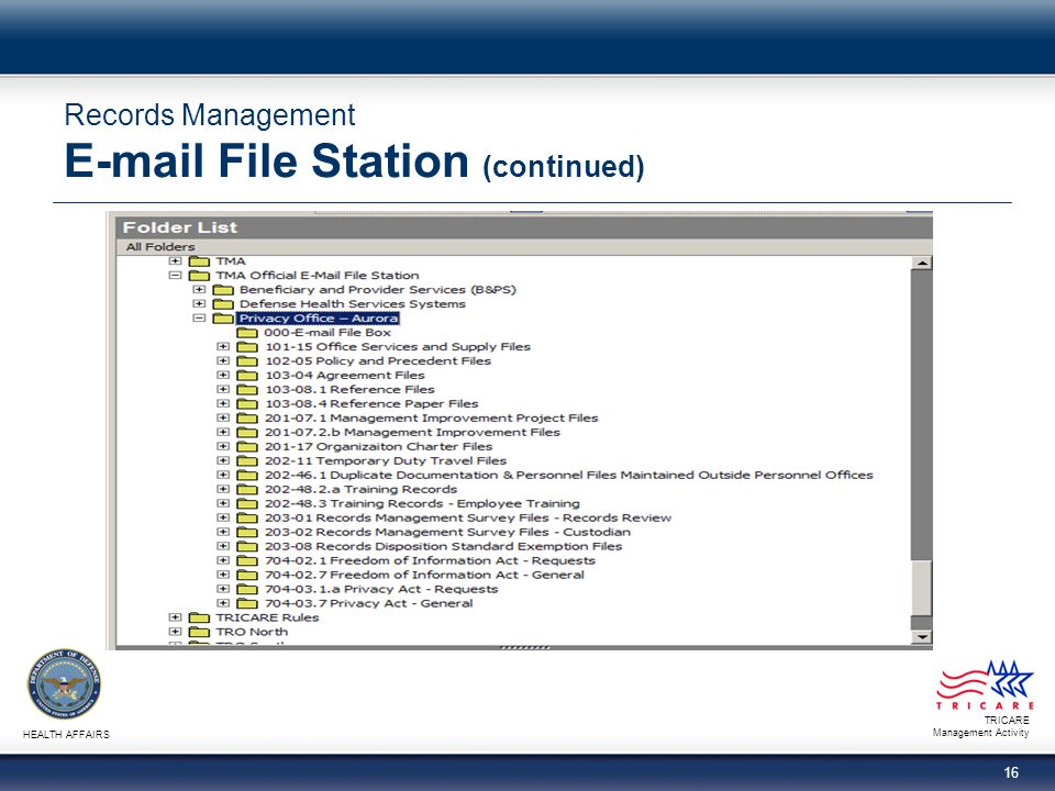 TRICARE Management Activity HEALTH AFFAIRS 16 Records Management E-mail File Station (continued)