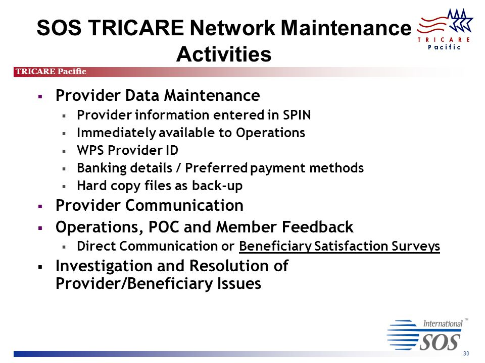 TRICARE Pacific 30 SOS TRICARE Network Maintenance Activities  Provider Data Maintenance  Provider information entered in SPIN  Immediately available to Operations  WPS Provider ID  Banking details / Preferred payment methods  Hard copy files as back-up  Provider Communication  Operations, POC and Member Feedback  Direct Communication or Beneficiary Satisfaction Surveys  Investigation and Resolution of Provider/Beneficiary Issues