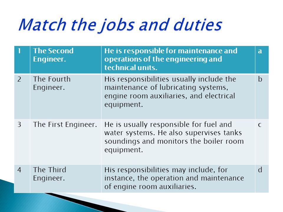 1The Second Engineer. He is responsible for maintenance and operations of the engineering and technical units. a 2The Fourth Engineer. His responsibil