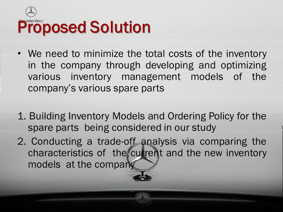Proposed Solution We need to minimize the total costs of the inventory in the company through developing and optimizing various inventory management m