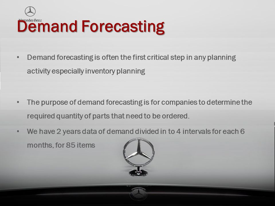 Demand forecasting is often the first critical step in any planning activity especially inventory planning The purpose of demand forecasting is for co