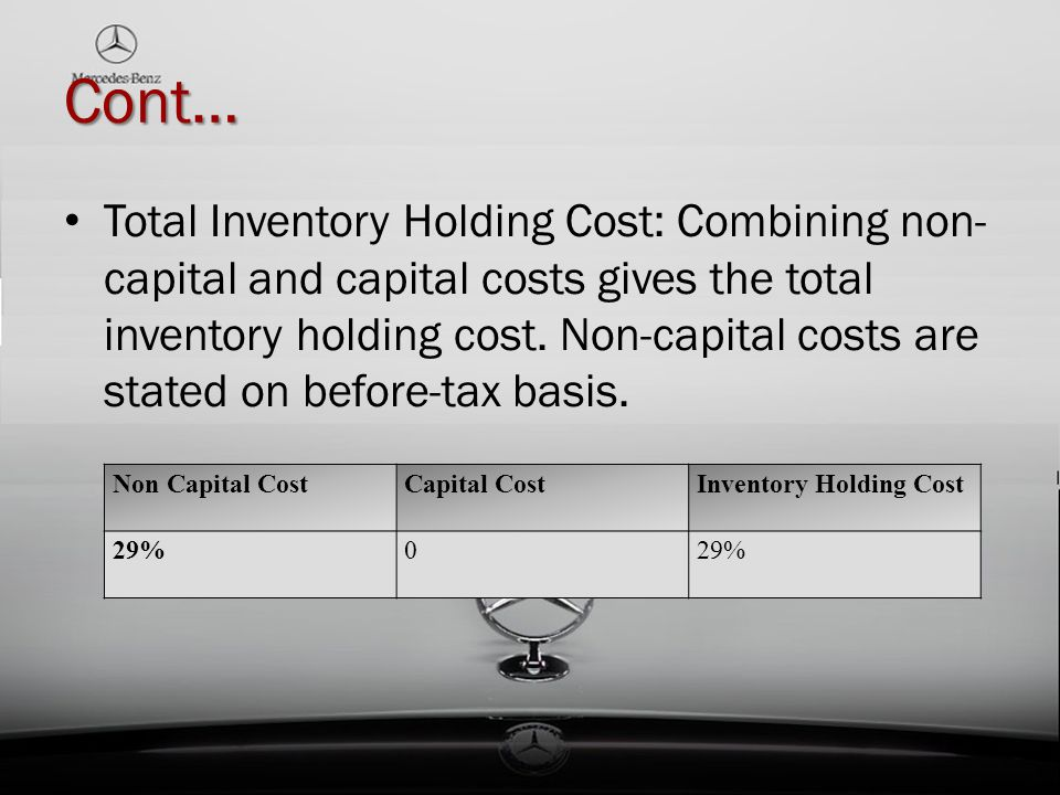 Cont… Total Inventory Holding Cost: Combining non- capital and capital costs gives the total inventory holding cost. Non-capital costs are stated on b