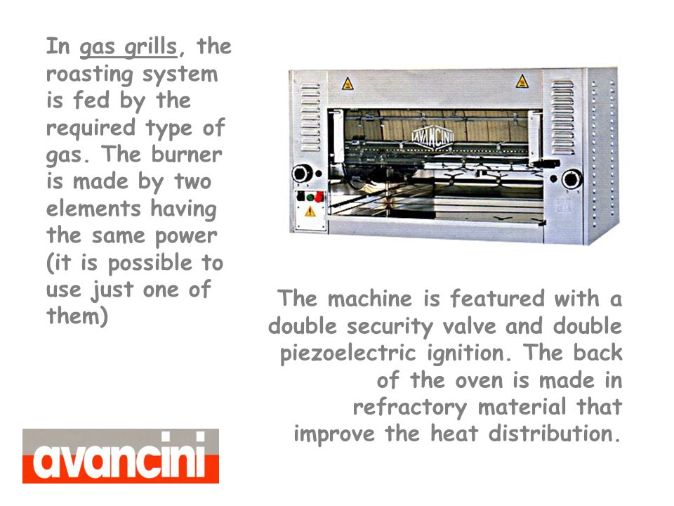 The machine is featured with a double security valve and double piezoelectric ignition.