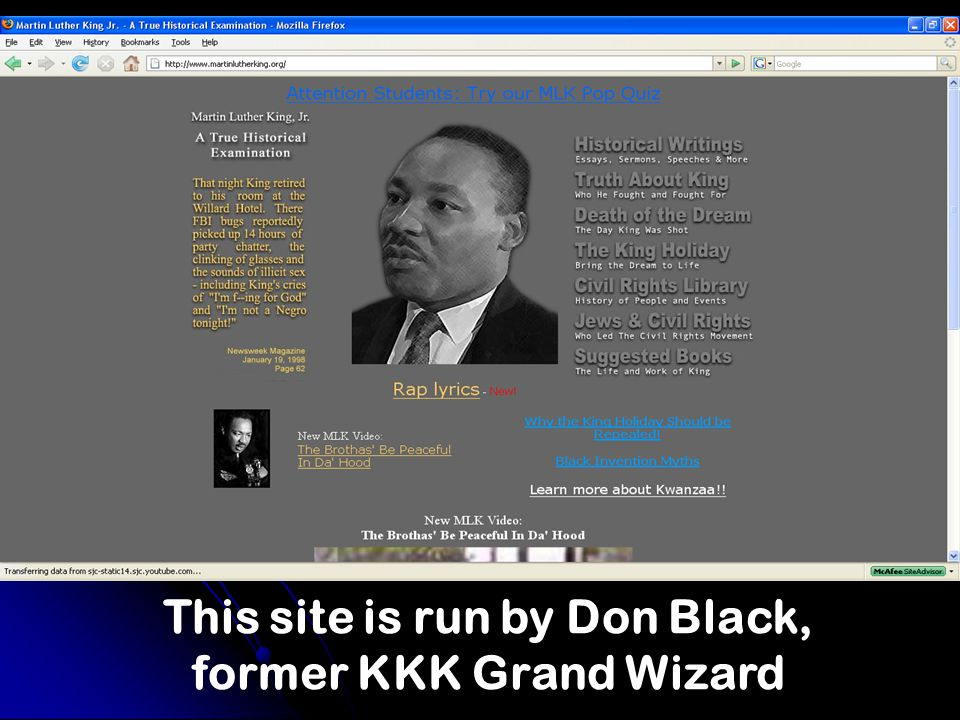 This site is run by Don Black, former KKK Grand Wizard