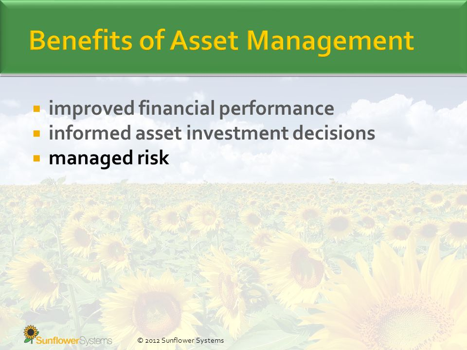  improved financial performance  informed asset investment decisions  managed risk © 2012 Sunflower Systems