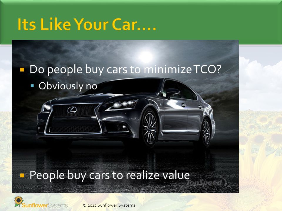  Do people buy cars to minimize TCO.