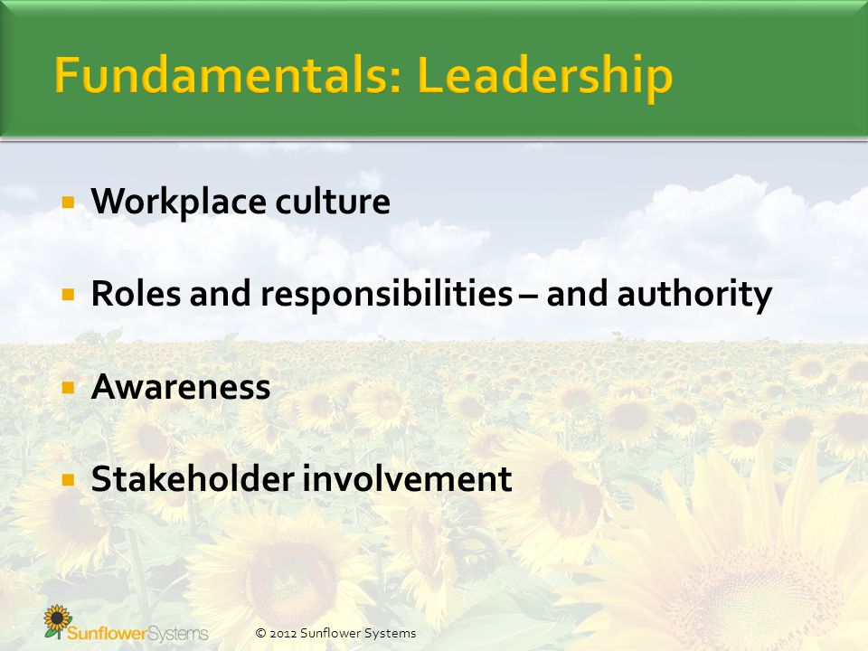  Workplace culture  Roles and responsibilities – and authority  Awareness  Stakeholder involvement © 2012 Sunflower Systems