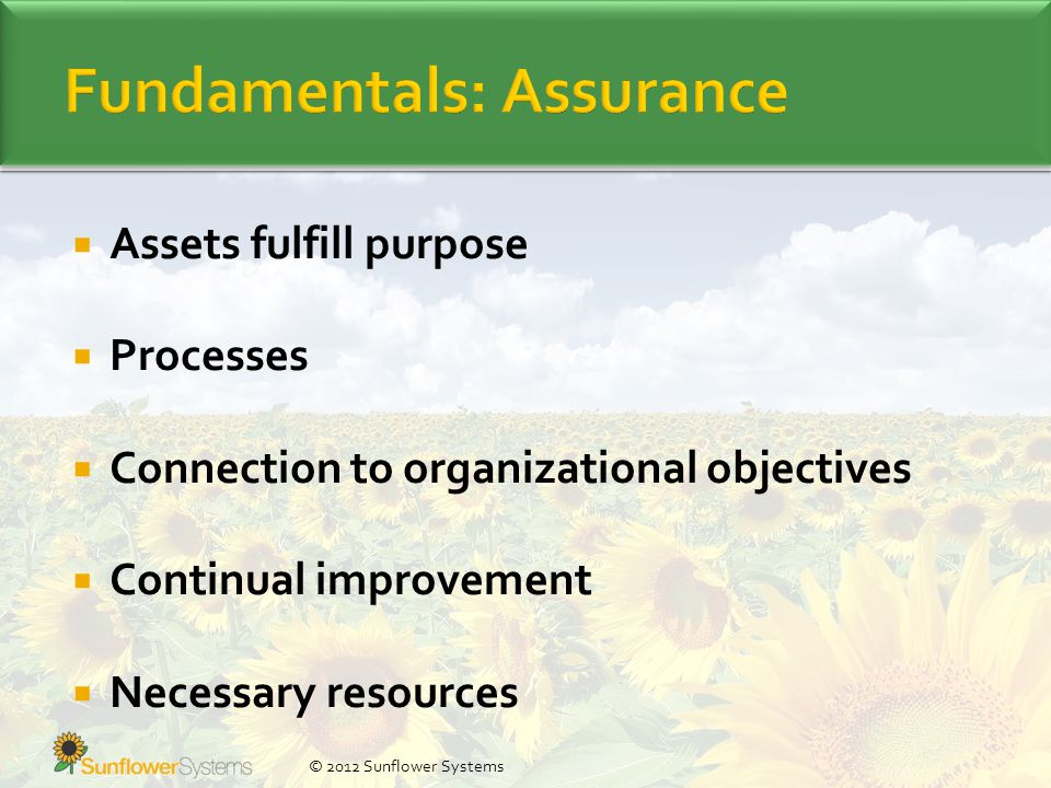  Assets fulfill purpose  Processes  Connection to organizational objectives  Continual improvement  Necessary resources © 2012 Sunflower Systems