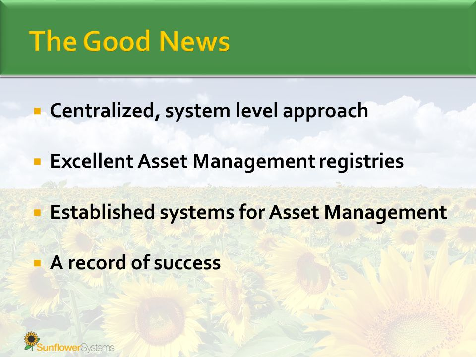  Centralized, system level approach  Excellent Asset Management registries  Established systems for Asset Management  A record of success