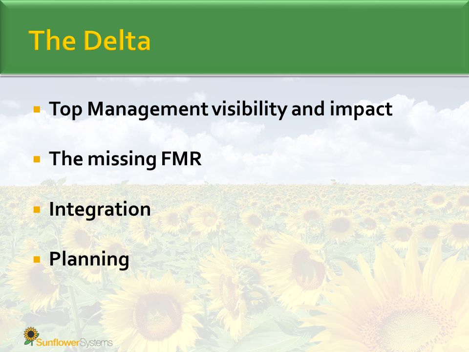  Top Management visibility and impact  The missing FMR  Integration  Planning