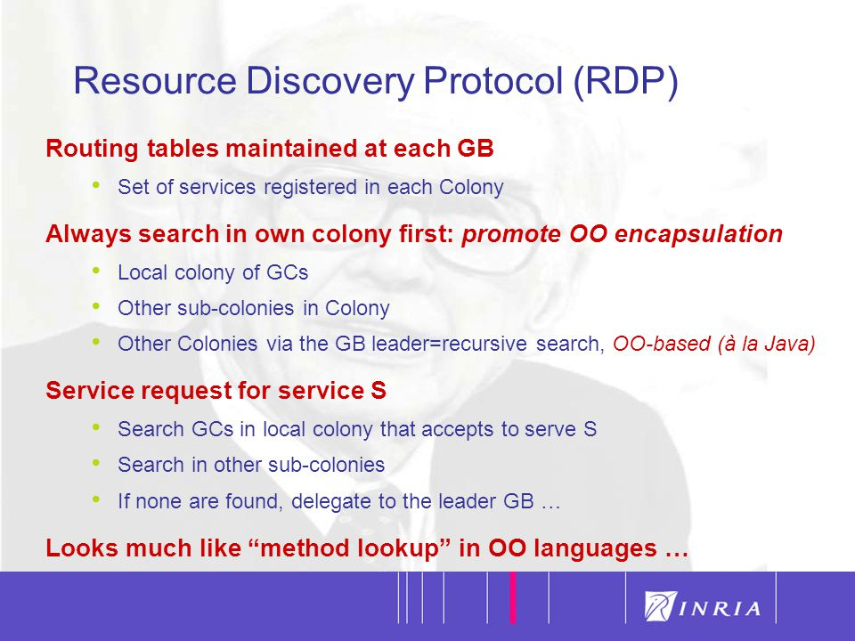 11 Routing tables maintained at each GB Set of services registered in each Colony Always search in own colony first: promote OO encapsulation Local colony of GCs Other sub-colonies in Colony Other Colonies via the GB leader=recursive search, OO-based (à la Java) Service request for service S Search GCs in local colony that accepts to serve S Search in other sub-colonies If none are found, delegate to the leader GB … Looks much like method lookup in OO languages … Resource Discovery Protocol (RDP)