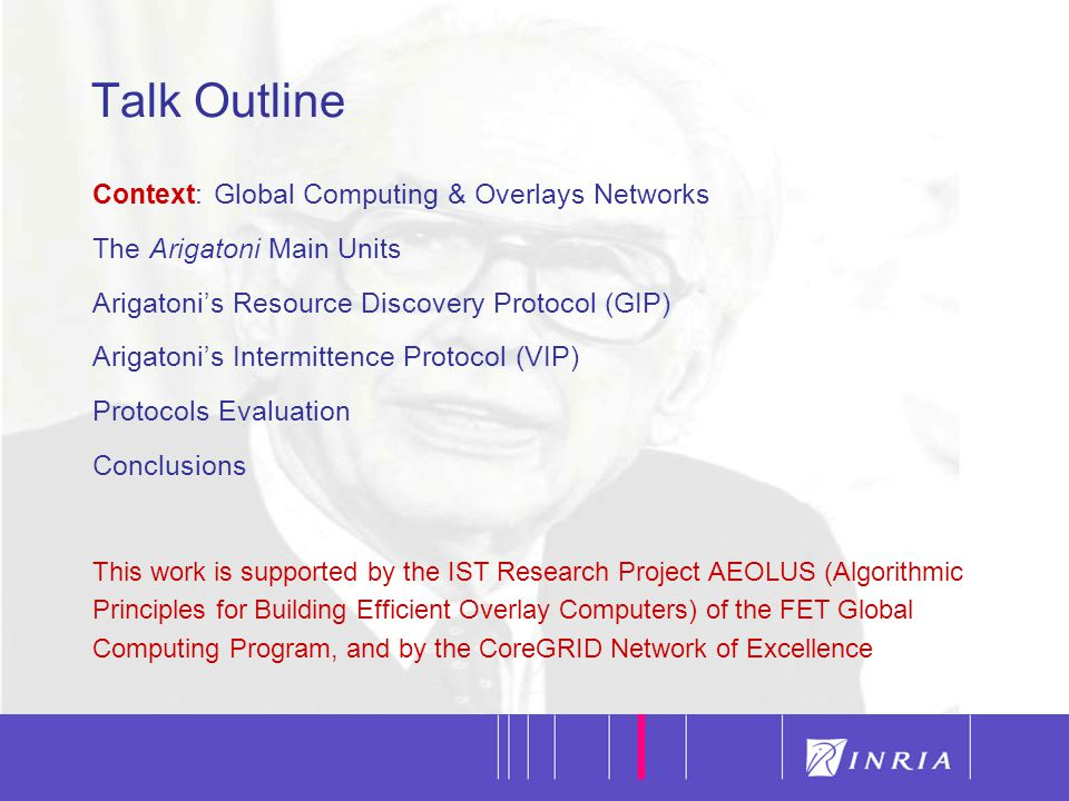 2 Talk Outline Context: Global Computing & Overlays Networks The Arigatoni Main Units Arigatoni's Resource Discovery Protocol (GIP) Arigatoni's Interm