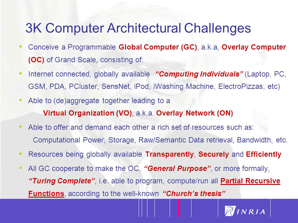 4 3K Computer Architectural Challenges II The Overlay Network of GC, physically connected via IP, is logically organized in Virtual Organizations, a.k.a.