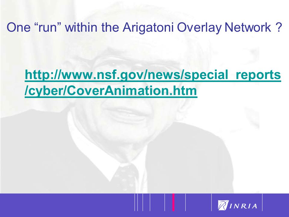 "38 One ""run"" within the Arigatoni Overlay Network ? http://www.nsf.gov/news/special_reports /cyber/CoverAnimation.htm"